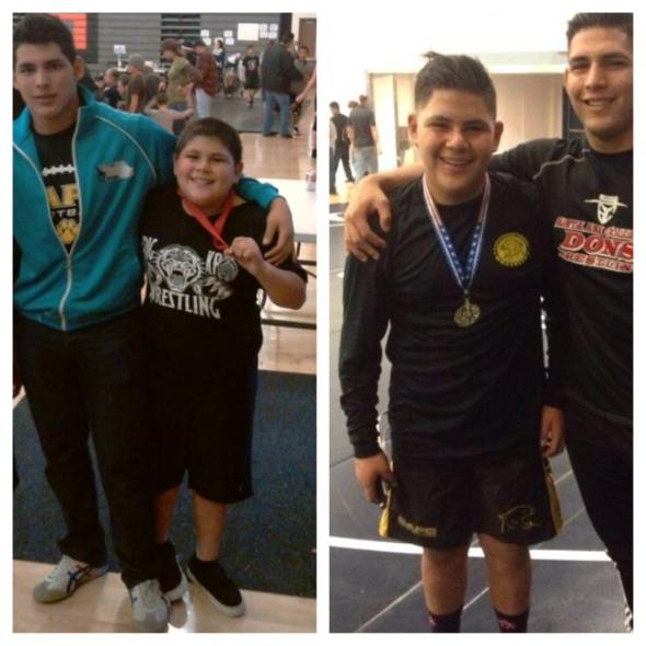 8th Grader Gerardo Hernandez (3rd in state 2014), then--his first year of wrestling 4 years ago--and now, 2014.